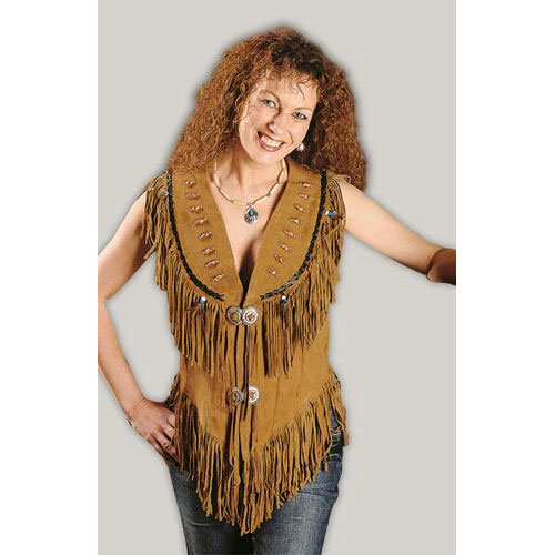 3b518e68a Women Western Leather Jacket Wear Fringes Beads Native American Cowlady  1980'S COR39